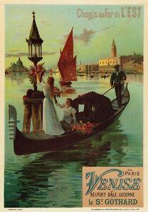 AP132-Vintage-Paris-Venice-Eastern-Railway-Advertisement-Poster-Card-Print-A5