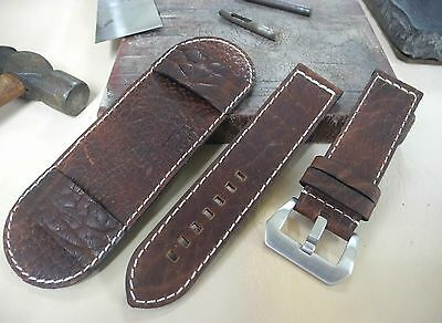 Size 20/22/24/26mm Oliy Brown Leather Cuff Watch Strap/Band with Pad 232-5