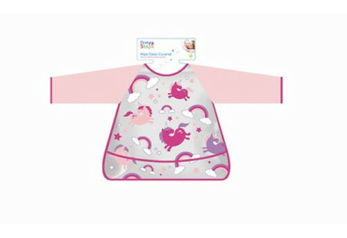 Baby Toddler pink Plastic Wipe Clean coverall Bib cover all dinner messy