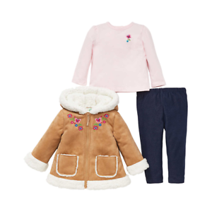 NEW-Little-Me-Girl-039-s-3-Piece-Tan-Jacket-Top-And-Pants-Set-Size-18M
