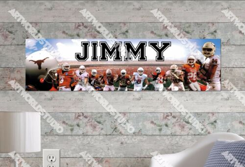 Personalized//Customized Texas Longhorns Name Poster Wall Art Decoration Banner