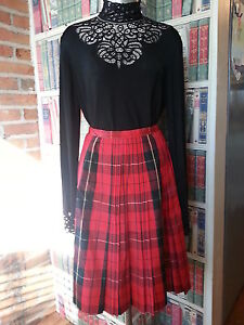 eae5c4495 Details about Vtg 50's skirt Nelly De Grab NY Plaid Pleated Taffeta style  Red Black White RARE