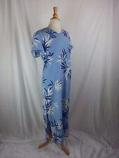 Talbots Baby Blue Floral Print Long Dress Women's Size 12 Poly