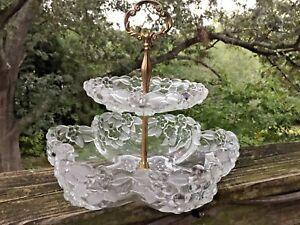 Französische Provinz 10/10 Tiered Serviertablett Cut Glas Jugendstil Antik ❤ j8