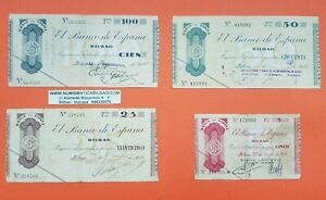 BILBAO-5-25-50-100-PESETAS-1936-EUSKADI-GUERRA-CIVIL-1937-BILLETES-de-EUZKADI-1