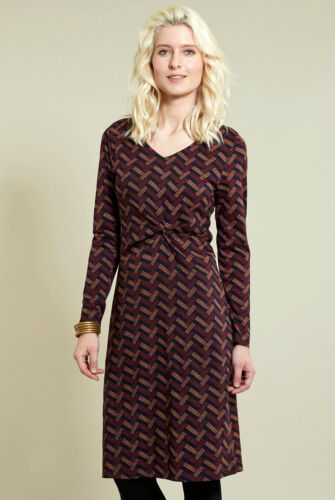NOMADS Organic Jersey Cotton Flattering Knee Length  Dress  Long Sleeve BOHO