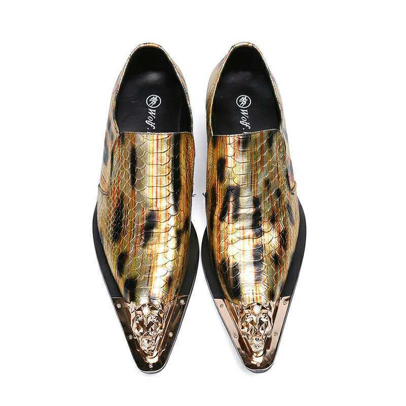 Men's Trendy Snakeskin Texture Metal Decor Pointy Toe Party Leather Dress shoes