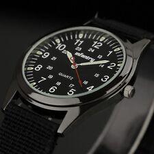 INFANTRY Mens Military Sport Quartz Analog Wrist Watch Zulu Black Nylon Strap #IN-018-BLK-N