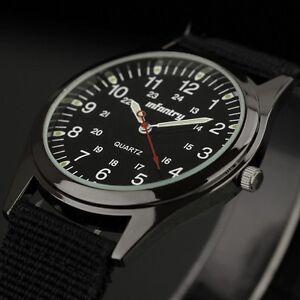 INFANTRY-Mens-Quartz-Analog-Wrist-Watch-Luminous-Army-Military-Sport-Black-Nylon
