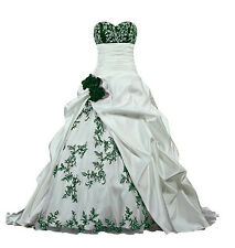 NEW Embroidery Satin Wedding Dress Bridal Formal Gown Size/6-8-10-12-14-16-18-20