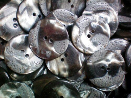 Large 34mm 54L argent gris perlé /& matt détail 2 trous manteau bouton W247