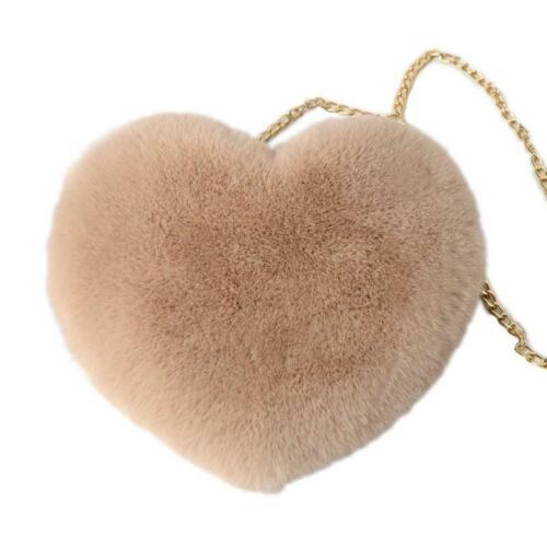 Women/'s Heart Shaped Faux Fur Crossbody Wallet Purse Chain Shoulder Bags Hot