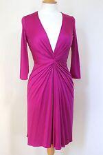ISSA Pink Deep V-Neck Silk Jersey Dress uk 8
