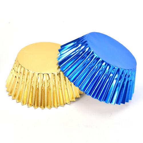 100pcs Foil Metallic Cupcake Case Liners Baking Muffin Paper Cases XE