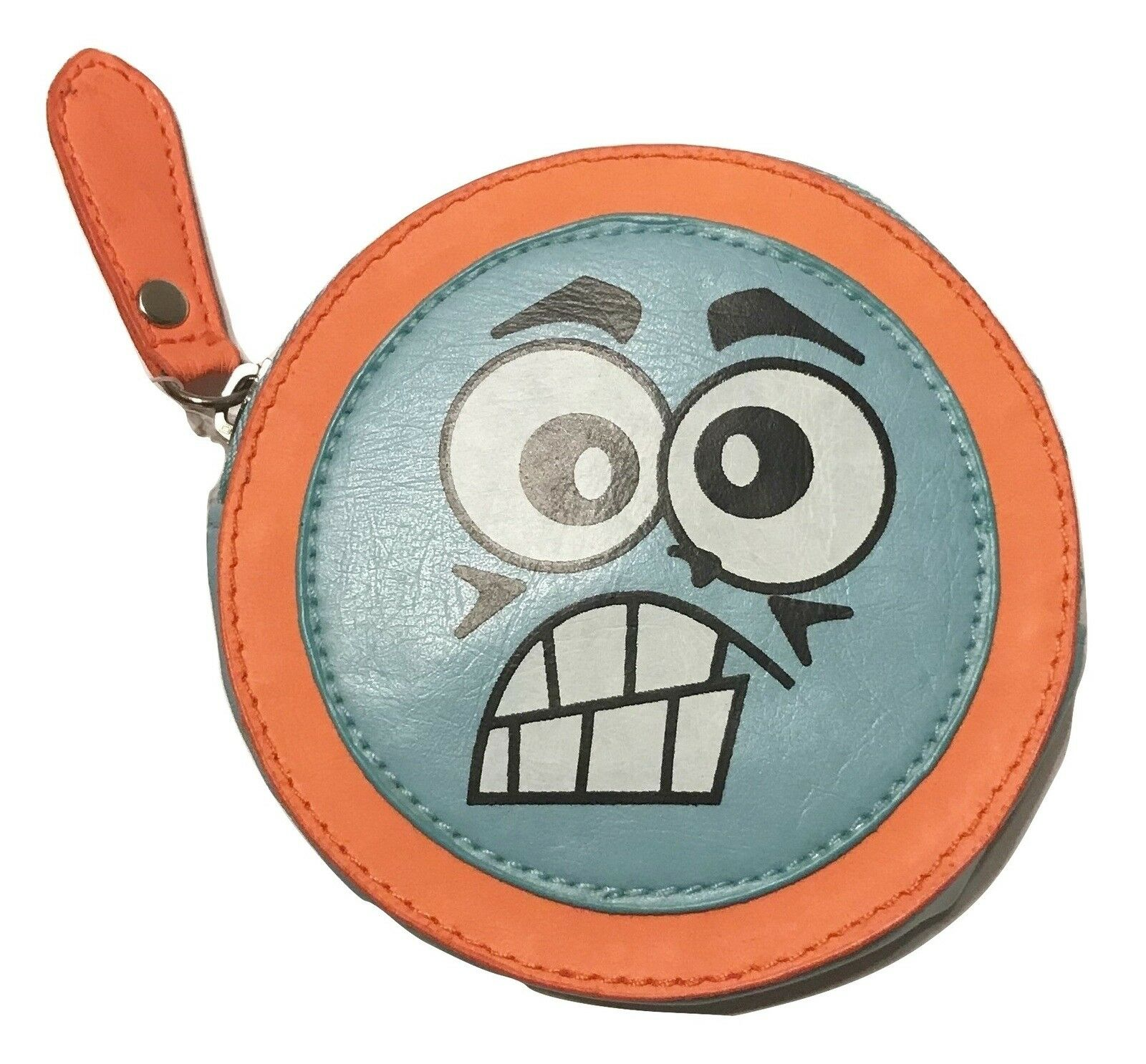 Lulu-NYC Cartoon Angry Face Round Small Coin Wallet, Blue Orange