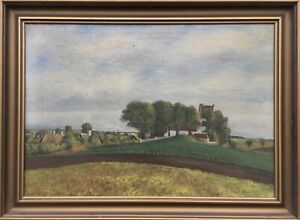 Naturalist-Landscape-at-the-Edge-of-Village-with-Church-Denmark-Oil