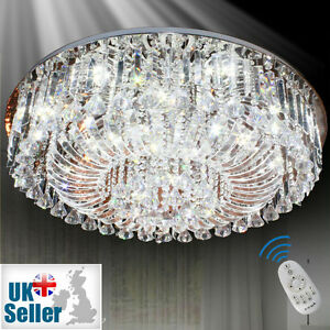 Genuine k9 crystal flush ceiling light chandelier 3 colours dimmable la foto se est cargando autentica k9 cristal lampara de techo de luz aloadofball Gallery