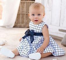 Toddler Baby Girls Clothing Casual Sleeveless Skirt Bowknot Plaids Dress 18-24M