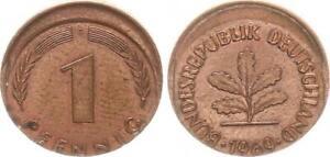1969 G Germany Frg 1 Pfennig Lack Coinage: 10-15% Dezentriert, Kupferpatina V