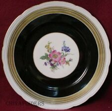 F & B BARONET china MULTICOLOR FLORAL center BLACK BAND pattern SERVICE PLATE
