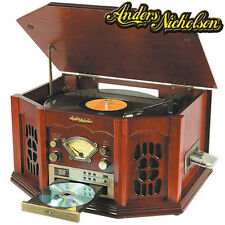 Anders Nicholson Cherry Finish Home Music System with Turntable and CD Player