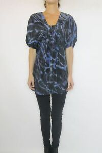 COUNTRY-ROAD-Blue-Wash-Print-Silk-Tunic-Top-Size-S-8-10