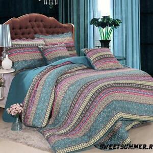 New-Reversible-Cotton-Patchwork-Coverlet-Bedspread-2pc-Set-Queen-King-AU