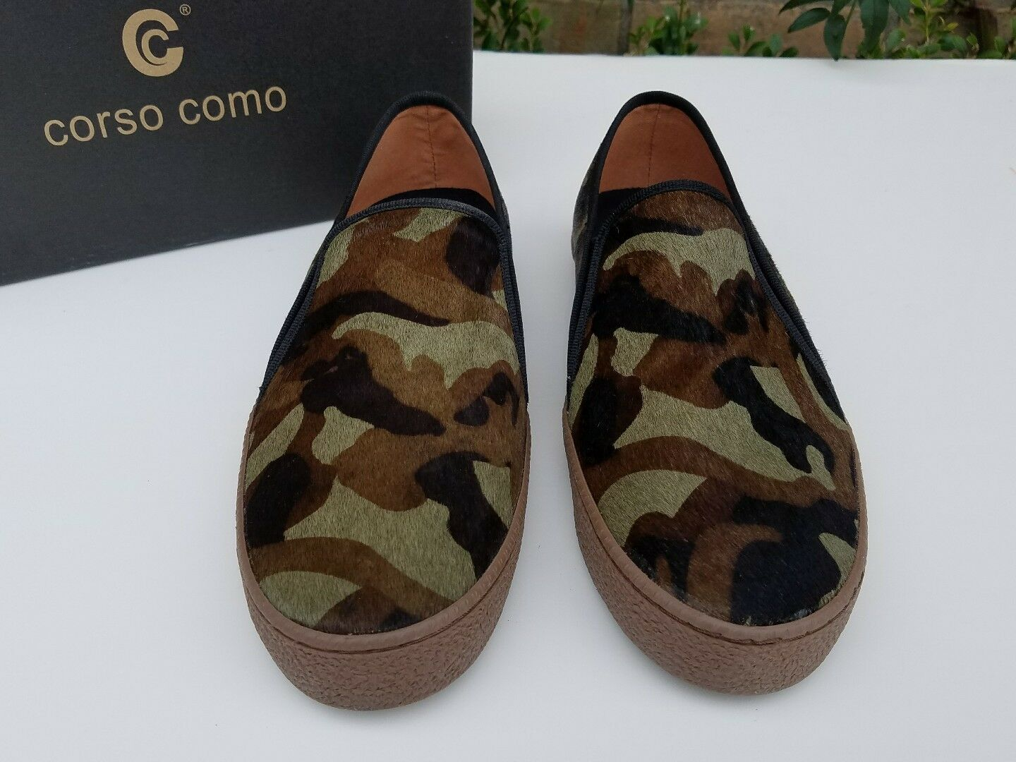 130 Corso Como Green  Braun Camouflage Calf Hair Slip On lexie Loafers