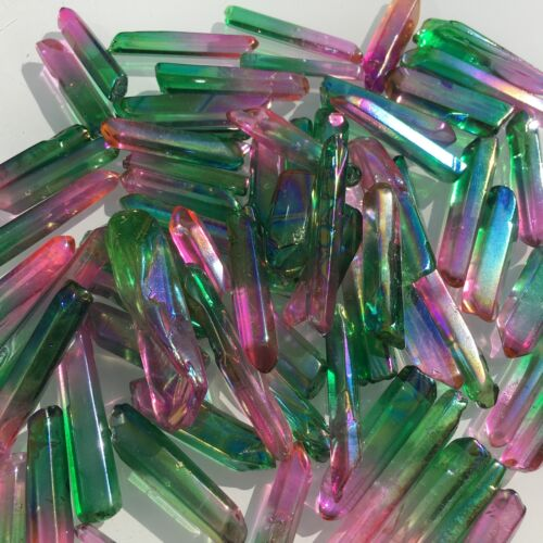 Details about  /50G AB colours titanium rainbow aura lemurian quartz crystal point H218
