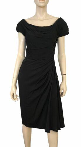 CEIL CHAPMAN Vintage Black Silk Satin Ruched Hourg