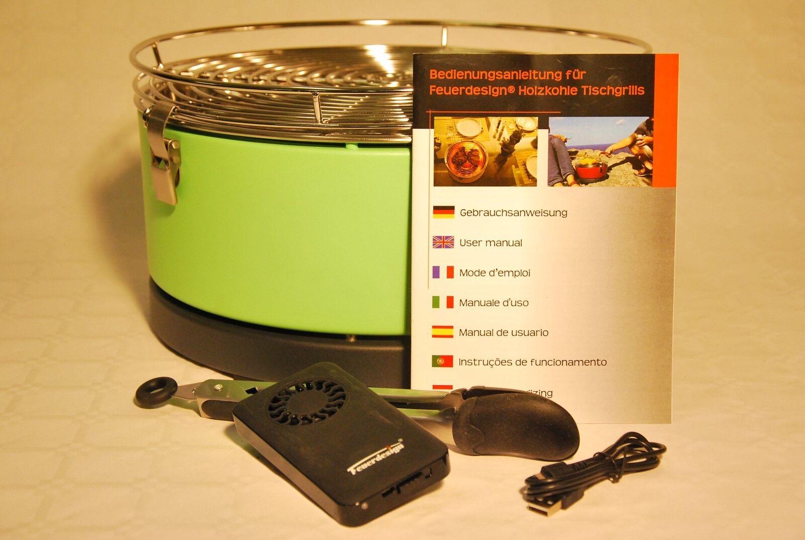 Grill Tischgrill Holzkohle Lüftergrill Mayon grün Feuerdesign