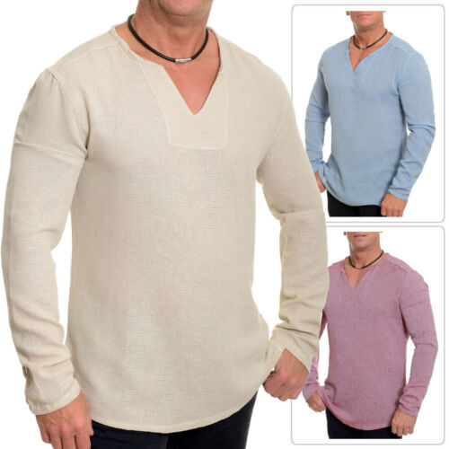 Men/'s Casual Col V Chemise d/'été en lin toile comme 100/% Coton Slim manches longues