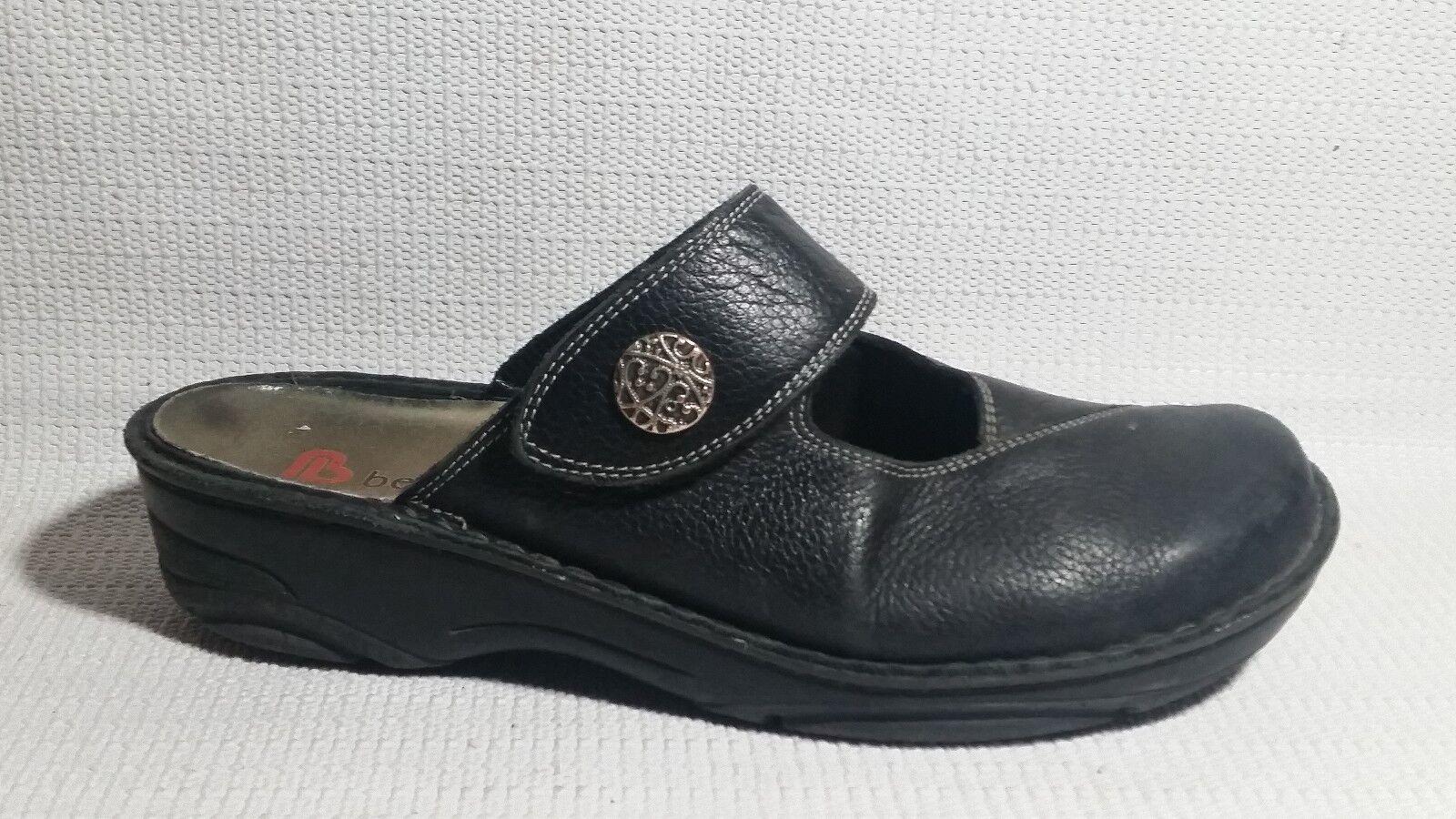Berkemann Women 8 M Leather Slip On shoes Mule Sandal Mary Jane Black Clog Career