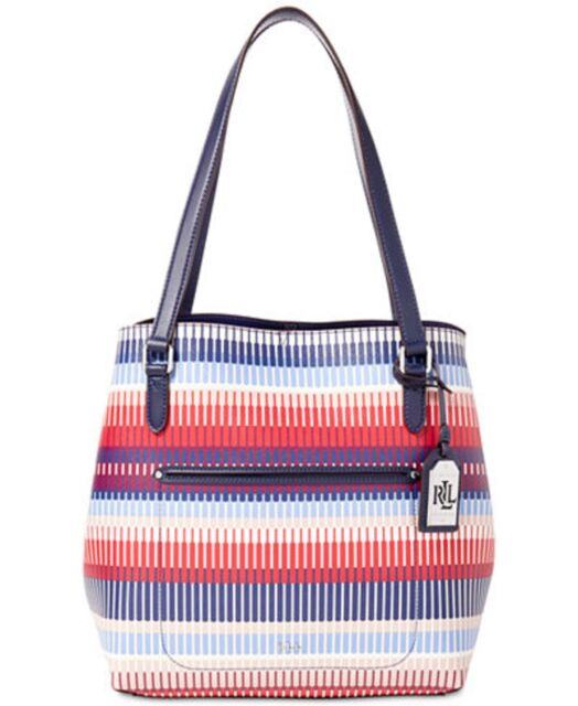 New Ralph Lauren Lindley Alissa Tote bag Multi Color Marine graphic print  stripe 17501981cc