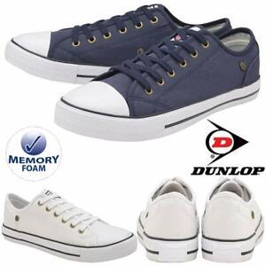 Dunlop-Mens-Lace-Up-Trainers-Canvas-Plimsoll-Pumps-Memory-Foam-Retro-Shoes-Sizes