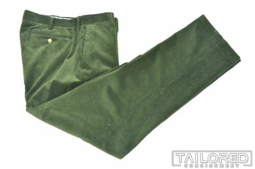POLO RALPH LAUREN Solid Green CORDUROY Cotton Mens