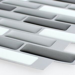 MUSTER Selbstklebende Vinyl Mosaik Fliesen D Silber Grau Mix EBay - Mosaik fliesen grau mix