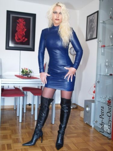 te mouw jurk Leren jurk Leren Mini om lange Blauw Gemaakt meten eoWdBrCEQx