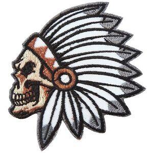 Skull bone head american indian chief motorcycle biker for Bone head tattoo