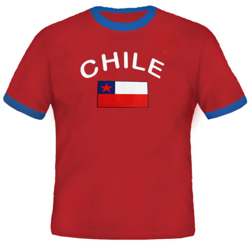 Chile Fan T-Shirt Fußball Retro Shirt Trikot Rot Unisex S M L XL XXL XXXL
