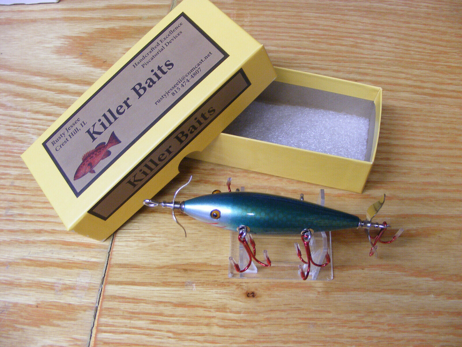 Killer Baits Rusty Jessee Heddon Style Glasseye 150 in Green  Scale Mullet color  up to 60% off