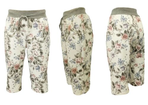 SWEATSHORTS Gummizug Damen Shorts // Gr Blumendruck kurze Jogpants 38-42