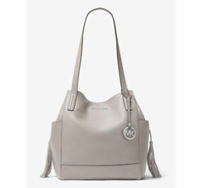 12d5e8b1561f28 Michael Kors Ashbury Large Pebble Leather Grab Bag Pearl Gray Grey ...
