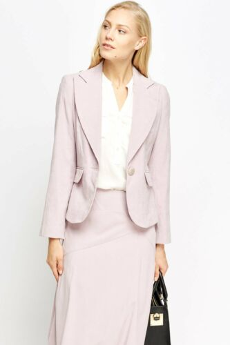 Flared Blazer Suit Skirt Kvinner Lapel Single Button Midi Flap Lilac Skreddersydd Pocket vqYv8