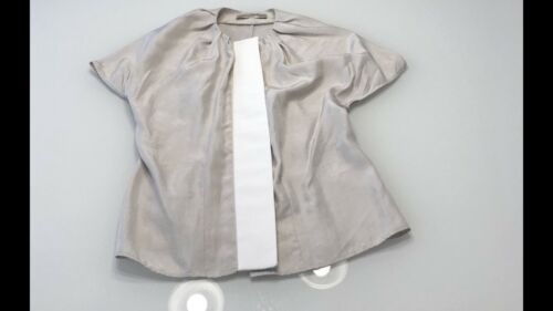 Balenciaga Silk Blouse Top Taupe Cap Sleeves Size… - image 1