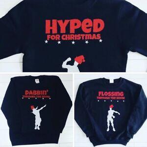 Kids-Boys-Christmas-Jumper-Day-Sweatshirt-Flossing-Through-The-Snow-Floss-Dabbin
