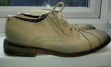 Ben Sherman two-tone leather shoes size 7. Cream & Blue 'Live Forever' 'KERALA'