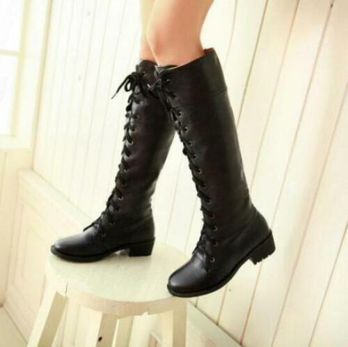 Women Lace Up  Military Army  Boots Block Heel  Knee High Boots Shoes Hot Sale