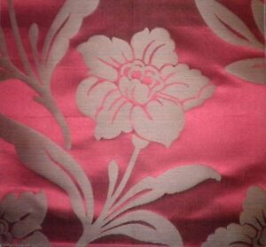 SCALAMANDRE Sophie Floral Damask Cotton Silk Red Remnant New