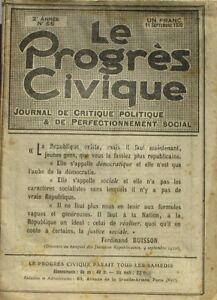 Le Progrès Civique N°56 1920 - Journal De Critique Politique - Henri Dumay Rare